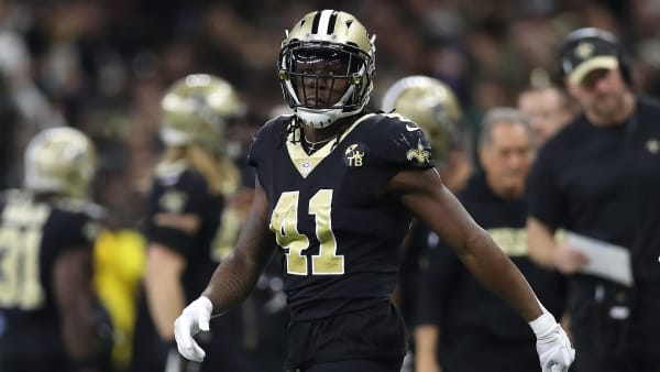 NEW ORLEANS, LOUISIANA - JANUARY 20: Alvin Kamara #41 of the New Orleans Saints looks on during the game against the Los Angeles Rams in the NFC Championship game at the Mercedes-Benz Superdome on January 20, 2019 in New Orleans, Louisiana. (Photo by Jonathan Bachman/Getty Images)