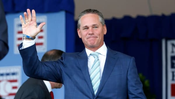 COOPERSTOWN, NEW YORK - JULY 21:  Hall of Famer Craig Biggio is introduced during the Baseball Hall of Fame induction ceremony at Clark Sports Center on July 21, 2019 in Cooperstown, New York. (Photo by Jim McIsaac/Getty Images)