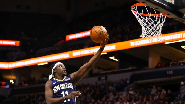 MINNEAPOLIS, MN - JANUARY 12: Jrue Holiday #11 of the New Orleans Pelicans goes up for a layup in the first quarter against the Minnesota Timberwolves at Target Center on January 12, 2019 in Minneapolis, Minnesota. NOTE TO USER: User expressly acknowledges and agrees that, by downloading and or using this Photograph, user is consenting to the terms and conditions of the Getty Images License Agreement. (Photo by David Berding/Getty Images)