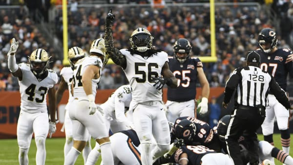 CHICAGO, ILLINOIS - OCTOBER 20: The New Orleans Saints celebrate a fumble recovery against the Chicago Bears during the second half at Soldier Field on October 20, 2019 in Chicago, Illinois. The New Orleans Saints defeated the Chicago Bears 36-25. (Photo by David Banks/Getty Images)