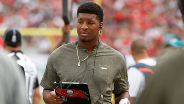 TAMPA, FL - NOVEMBER 12:  Quarterback Jameis Winston #3 of the Tampa Bay Buccaneers looks over his clipboard on the sidelines during the third quarter of an NFL football game against the New York Jets on November 12, 2017 at Raymond James Stadium in Tampa, Florida. (Photo by Brian Blanco/Getty Images)
