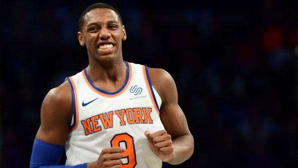 NEW YORK, NEW YORK - OCTOBER 25: RJ Barrett #9 of the New York Knicks reacts after scoring during the second half of their game against the Brooklyn Nets at Barclays Center on October 25, 2019 in the Brooklyn borough of New York City. NOTE TO USER: User expressly acknowledges and agrees that, by downloading and or using this photograph, User is consenting to the terms and conditions of the Getty Images License Agreement. (Photo by Emilee Chinn/Getty Images)