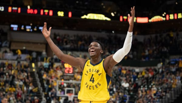 INDIANAPOLIS, IN - DECEMBER 16: Victor Oladipo #4 of the Indiana Pacers celebrates a call during the second half of the game against the New York Knicks at Bankers Life Fieldhouse on December 16, 2018 in Indianapolis, Indiana.  NOTE TO USER: User expressly acknowledges and agrees that, by downloading and or using this photograph, User is consenting to the terms and conditions of the Getty Images License Agreement. (Photo by Brian Munoz/Getty Images)