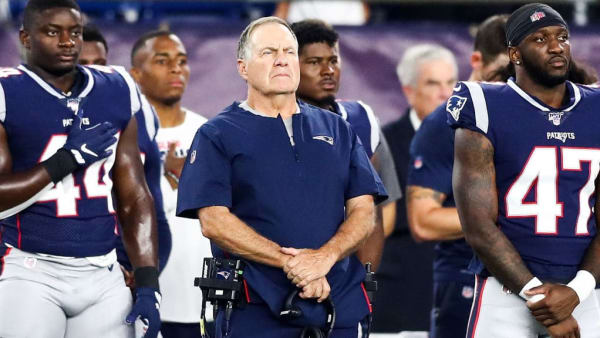 FOXBOROUGH, MA - AUGUST 29:   Head coach Bill Belichick of the New England Patriots looks on before a preseason game against the New York Giants at Gillette Stadium on August 29, 2019 in Foxborough, Massachusetts.  (Photo by Adam Glanzman/Getty Images)