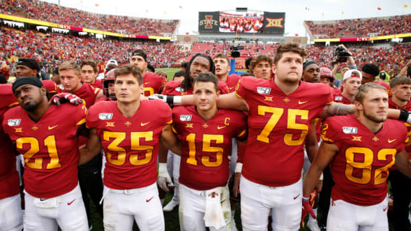 AMES, IA - AUGUST 31: The Iowa State Cyclones celebrate their 29-26 win in overtime over the Northern Iowa Panthers at Jack Trice Stadium on August 31, 2019 in Ames, Iowa. The Iowa State Cyclones won 29-26 over the Northern Iowa Panthers in triple overtime. (Photo by David Purdy/Getty Images)