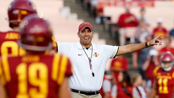 AMES, IA - SEPTEMBER 3: Head coach Matt Campbell of the Iowa State Cyclones coaches during warm ups before game action against the Northern Iowa Panthers at Jack Trice Stadium on September 3, 2016 in Ames, Iowa. Northern Iowa Panthers won 25-20 over the Iowa State Cyclones (Photo by David K Purdy/Getty Images)