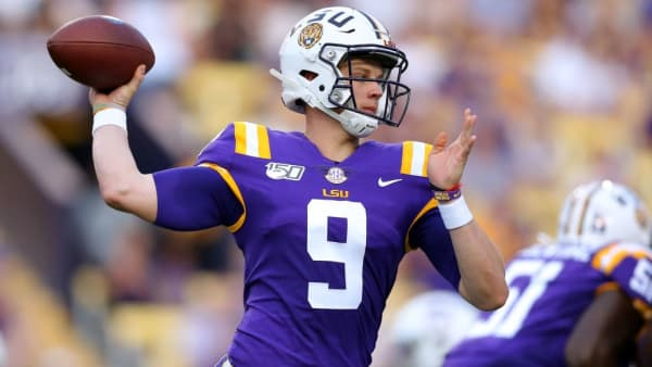 BATON ROUGE, LOUISIANA - SEPTEMBER 14: Joe Burrow #9 of the LSU Tigers throws the ball during the first half of a game against the Northwestern State Demons at Tiger Stadium on September 14, 2019 in Baton Rouge, Louisiana. (Photo by Jonathan Bachman/Getty Images)