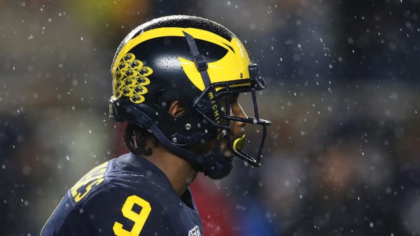ANN ARBOR, MICHIGAN - OCTOBER 26: Donovan Peoples-Jones #9 of the Michigan Wolverines waits for a first half punt while playing the Notre Dame Fighting Irish at Michigan Stadium on October 26, 2019 in Ann Arbor, Michigan. (Photo by Gregory Shamus/Getty Images)