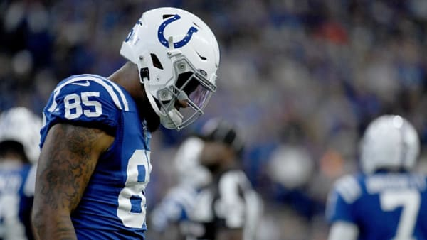 INDIANAPOLIS, IN - SEPTEMBER 29: Eric Ebron #85 of the Indianapolis Colts reacts after dropping a pass in the second quarter of the game against the Oakland Raiders at Lucas Oil Stadium on September 29, 2019 in Indianapolis, Indiana. (Photo by Bobby Ellis/Getty Images)