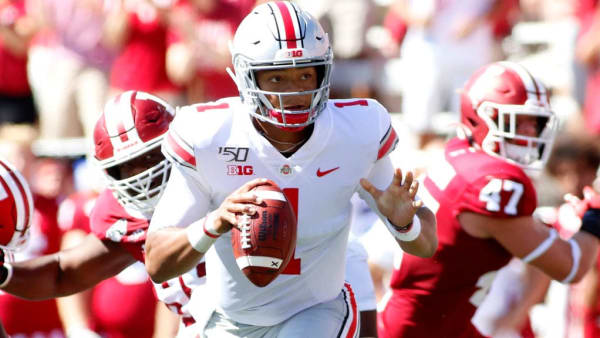 BLOOMINGTON, INDIANA - SEPTEMBER 14: Justin Fields #1 of the Ohio State Buckeyes scrambles in the game against the Indiana Hoosiers at Memorial Stadium on September 14, 2019 in Bloomington, Indiana. (Photo by Justin Casterline/Getty Images)