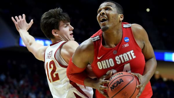 TULSA, OKLAHOMA - MARCH 22: Kaleb Wesson #34 of the Ohio State Buckeyes drives to the basket against Michael Jacobson #12 of the Iowa State Cyclones during the second half in the first round game of the 2019 NCAA Men's Basketball Tournament at BOK Center on March 22, 2019 in Tulsa, Oklahoma. (Photo by Harry How/Getty Images)