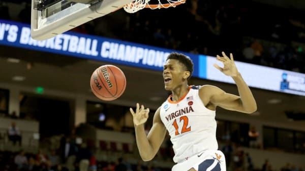 COLUMBIA, SOUTH CAROLINA - MARCH 24: De'Andre Hunter #12 of the Virginia Cavaliers dunks the ball against the Oklahoma Sooners during the second half in the second round game of the 2019 NCAA Men's Basketball Tournament at Colonial Life Arena on March 24, 2019 in Columbia, South Carolina. (Photo by Streeter Lecka/Getty Images)