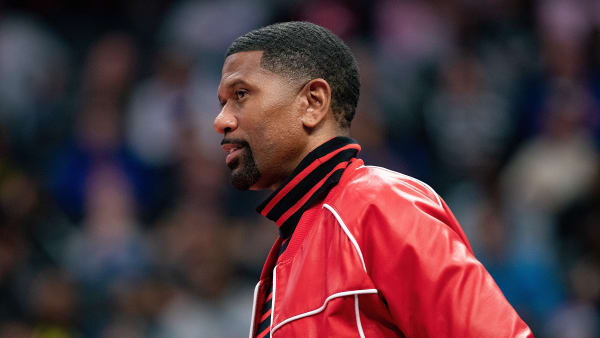 DETROIT, MI - OCTOBER 26: Former NBA Player Jalen Rose watches the game between the Philadelphia 76ers and the Detroit Pistons at Little Caesars Arena on October 26, 2019 in Detroit, Michigan. Philadelphia defeated Detroit 117-111. NOTE TO USER: User expressly acknowledges and agrees that, by downloading and or using this photograph, User is consenting to the terms and conditions of the Getty Images License Agreement (Photo by Leon Halip/Getty Images)