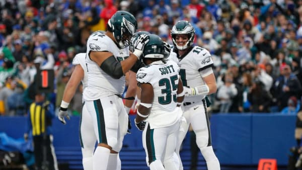 ORCHARD PARK, NY - OCTOBER 27:  Boston Scott #35 of the Philadelphia Eagles celebrates his touchdown with Halapoulivaati Vaitai #72 and Carson Wentz #11 of the Philadelphia Eagles during the second half against the Buffalo Bills at New Era Field on October 27, 2019 in Orchard Park, New York. Philadelphia Eagles beat the Buffalo Bills 31-13. (Photo by Timothy T Ludwig/Getty Images)