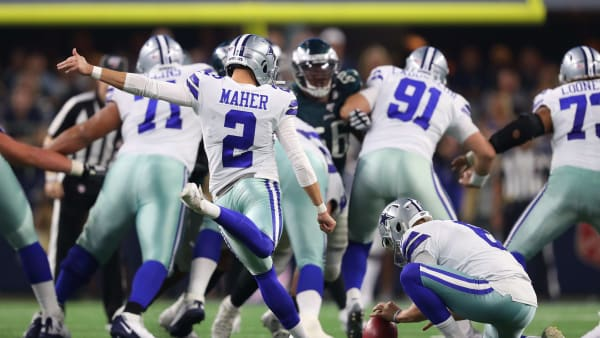 ARLINGTON, TEXAS - OCTOBER 20: Brett Maher #2 of the Dallas Cowboys kicks a 63-yard field goal during the second quarter against the Philadelphia Eagles in the game at AT&T Stadium on October 20, 2019 in Arlington, Texas. (Photo by Tom Pennington/Getty Images)
