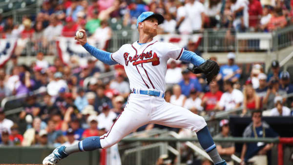 ATLANTA, GEORGIA - JUNE 16:  Mike Foltynewicz #26 of the Atlanta Braves pitches in the first inning against the Philadelphia Phillies at SunTrust Park on June 16, 2019 in Atlanta, Georgia. (Photo by Logan Riely/Getty Images)