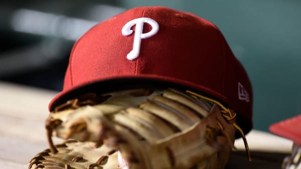 WASHINGTON, DC - SEPTEMBER 23:  A Philadelphia Phillies hat in the dugout during the game against the Washington Nationals at Nationals Park on September 23, 2019 in Washington, DC.  (Photo by G Fiume/Getty Images)