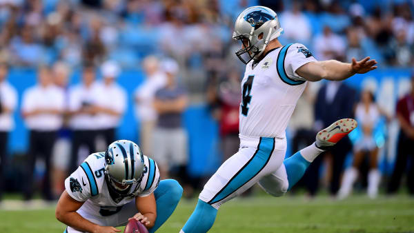 CHARLOTTE, NORTH CAROLINA - AUGUST 29: Joey Slye #4 of the Carolina Panthers attempts a field goal during their preseason game against the Pittsburgh Steelers at Bank of America Stadium on August 29, 2019 in Charlotte, North Carolina. (Photo by Jacob Kupferman/Getty Images)