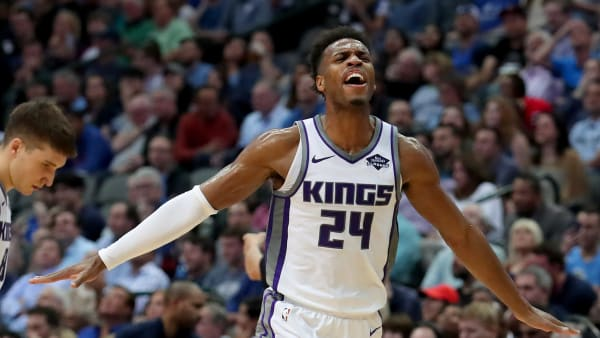 DALLAS, TEXAS - MARCH 26: Buddy Hield #24 of the Sacramento Kings celebrates against the Dallas Mavericks in the second half at American Airlines Center on March 26, 2019 in Dallas, Texas. NOTE TO USER: User expressly acknowledges and agrees that, by downloading and or using this photograph, User is consenting to the terms and conditions of the Getty Images License Agreement. (Photo by Tom Pennington/Getty Images)