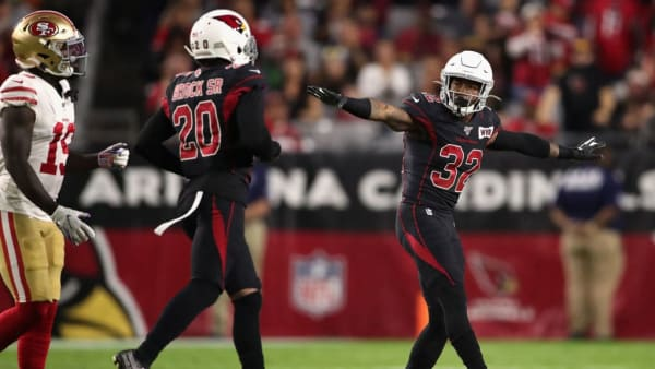 GLENDALE, ARIZONA - OCTOBER 31: Strong safety Budda Baker #32 of the Arizona Cardinals reacts to a stop with defensive back Tramaine Brock #20 during the first half of the NFL game against the San Francisco 49ers at State Farm Stadium on October 31, 2019 in Glendale, Arizona. (Photo by Christian Petersen/Getty Images)