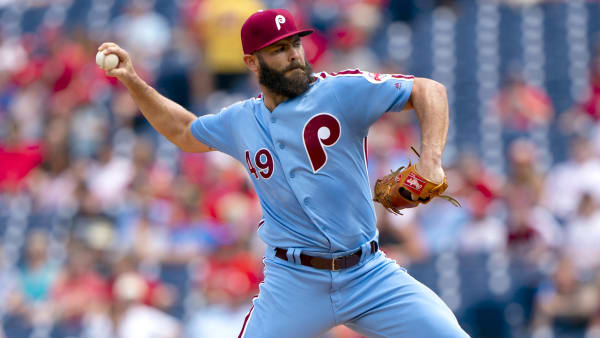 PHILADELPHIA, PA - AUGUST 01: Jake Arrieta #49 of the Philadelphia Phillies throws a pitch in the top of the first inning against the San Francisco Giants at Citizens Bank Park on August 1, 2019 in Philadelphia, Pennsylvania. (Photo by Mitchell Leff/Getty Images)