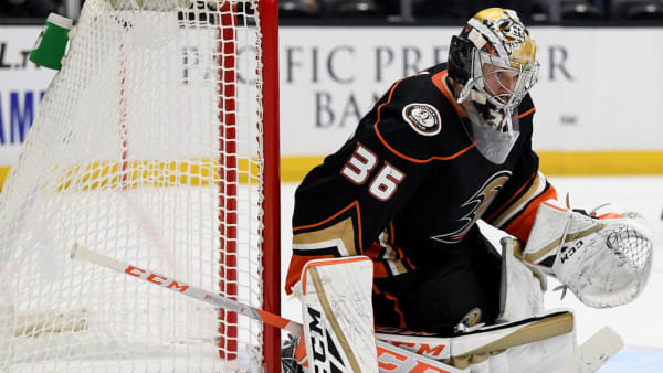 ANAHEIM, CALIFORNIA - SEPTEMBER 24:  John Gibson #36 of the Anaheim Ducks in goal during a 4-1 win over the San Jose Sharks in a preseason game at Honda Center on September 24, 2019 in Anaheim, California. (Photo by Harry How/Getty Images)