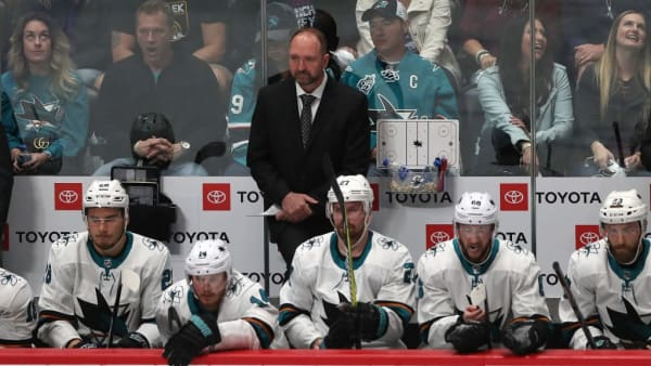 DENVER, COLORADO - MAY 06:  Head coach Peter DeBoer of the San Jose Sharks watches as his team plays the Colorado Avalanche in the first period during Game Six of the Western Conference Second Round during the 2019 NHL Stanley Cup Playoffs at the Pepsi Center on May 6, 2019 in Denver, Colorado. (Photo by Matthew Stockman/Getty Images)