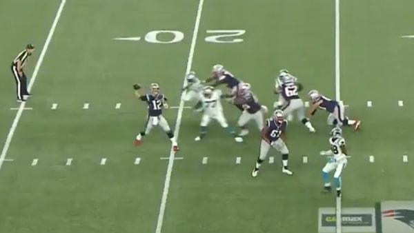 Tom Brady hits Phillip Dorsett for massive 19 yard gain on Thursday against Panthers.