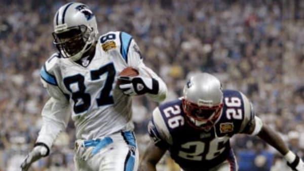 Panthers WR Muhsin Muhammed scoring a TD in Super Bowl XXXVIII