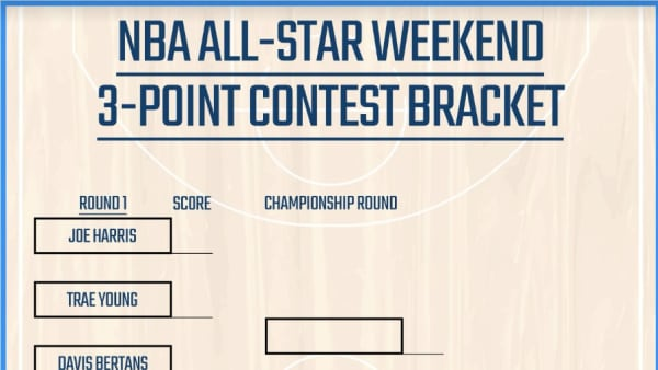 Printable bracket for the 3-Point Contest at NBA All-Star Weekend.