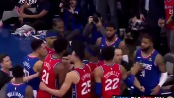 Marcus Morris and Joel Embiid had to be separated.