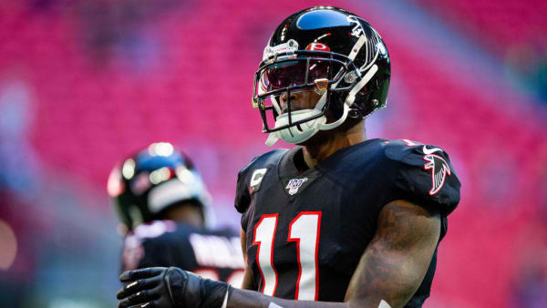 ATLANTA, GA - OCTOBER 27: Julio Jones #11 of the Atlanta Falcons in action prior to a game against the Seattle Seahawks at Mercedes-Benz Stadium on October 27, 2019 in Atlanta, Georgia. (Photo by Carmen Mandato/Getty Images)