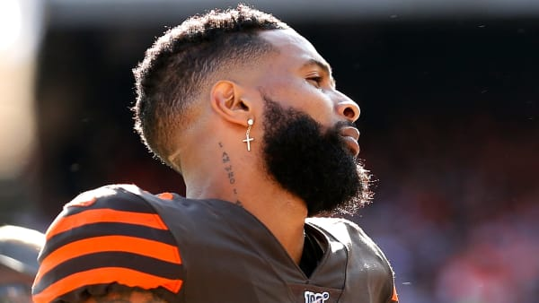 CLEVELAND, OH - OCTOBER 13:  Odell Beckham Jr. #13 of the Cleveland Browns stands on the sideline during the game against the Seattle Seahawks at FirstEnergy Stadium on October 13, 2019 in Cleveland, Ohio. Seattle defeated Cleveland 32-28. (Photo by Kirk Irwin/Getty Images)