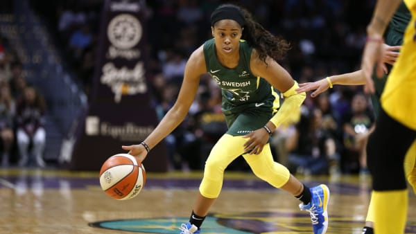 LOS ANGELES, CALIFORNIA - AUGUST 04:  Jordin Canada #21 of the Seattle Storm takes the ball down the court during a game against the Los Angeles Sparks at Staples Center on August 04, 2019 in Los Angeles, California. NOTE TO USER: User expressly acknowledges and agrees that, by downloading and or using this photograph, User is consenting to the terms and conditions of the Getty Images License Agreement. (Photo by Katharine Lotze/Getty Images)