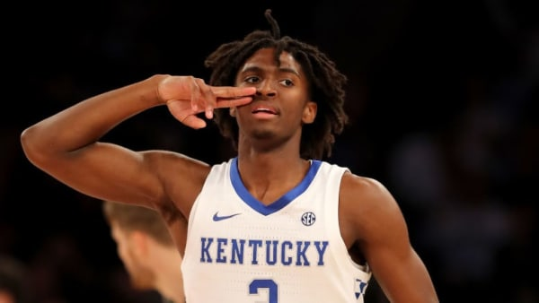 NEW YORK, NEW YORK - NOVEMBER 05: Tyrese Maxey #3 of the Kentucky Wildcats celebrates his three point shot in the first half against the Michigan State Spartans during the State Farm Champions Classic at Madison Square Garden on November 05, 2019 in New York City.Duke Blue Devils defeated the Kansas Jayhawks 68-66. (Photo by Elsa/Getty Images)