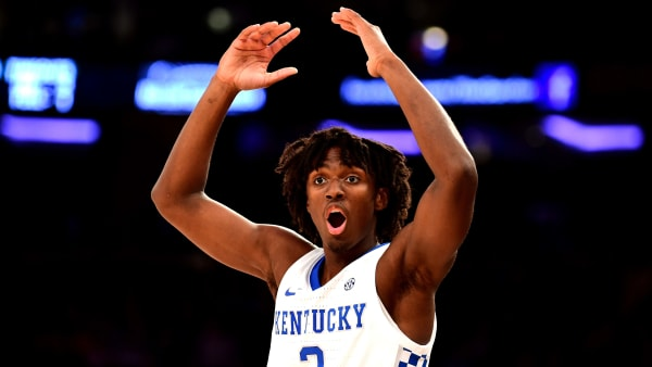 NEW YORK, NEW YORK - NOVEMBER 05: Tyrese Maxey #3 of the Kentucky Wildcats reacts in the second half of their game against the Michigan State Spartans at Madison Square Garden on November 05, 2019 in New York City. (Photo by Emilee Chinn/Getty Images)