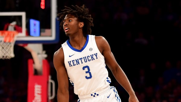 NEW YORK, NEW YORK - NOVEMBER 05: Tyrese Maxey #3 of the Kentucky Wildcats dribbles the ball during the first half against the Michigan State Spartans at Madison Square Garden on November 05, 2019 in New York City. (Photo by Emilee Chinn/Getty Images)