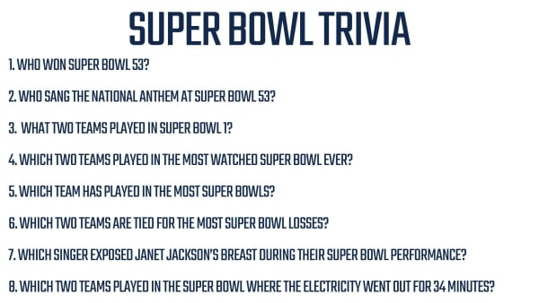 Printable Super Bowl Trivia