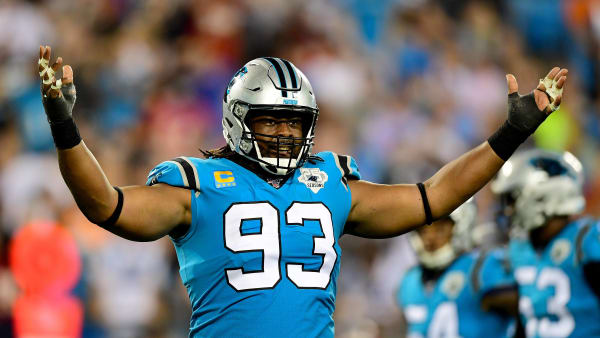 CHARLOTTE, NORTH CAROLINA - SEPTEMBER 12: Gerald McCoy #93 of the Carolina Panthers pumps up the crowd in the second quarter during their game against the Tampa Bay Buccaneers at Bank of America Stadium on September 12, 2019 in Charlotte, North Carolina. (Photo by Jacob Kupferman/Getty Images)