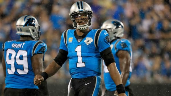 Cam Newton prepares for another play in a game against the Tampa Bay Buccaneers.