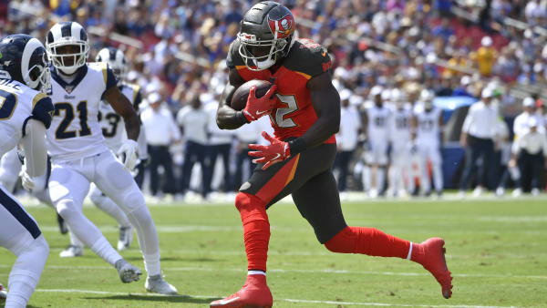 LOS ANGELES, CA - SEPTEMBER 29: Chris Godwin #12 of the Tampa Bay Buccaneers rushes against the Los Angeles Rams at Los Angeles Memorial Coliseum on September 29, 2019 in Los Angeles, California. Tampa Bay won 55-40. (Photo by John McCoy/Getty Images)
