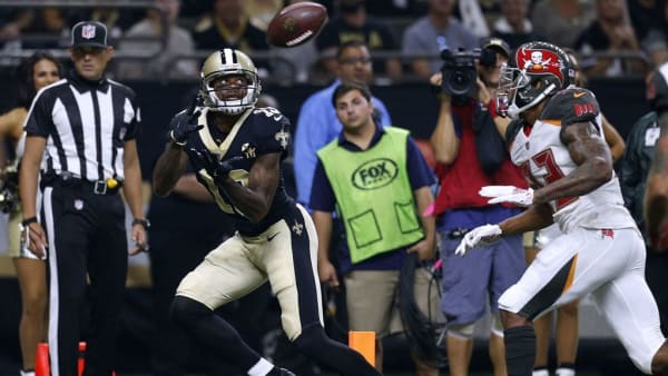NEW ORLEANS, LA - SEPTEMBER 09: Ted Ginn #19 of the New Orleans Saints catches the ball for a touchdown as Carlton Davis #33 of the Tampa Bay Buccaneers defends during the first half at the Mercedes-Benz Superdome on September 9, 2018 in New Orleans, Louisiana.  (Photo by Jonathan Bachman/Getty Images)