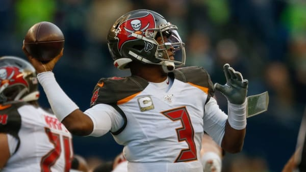SEATTLE, WA - NOVEMBER 03:  Quarterback Jameis Winston #3 of the Tampa Bay Buccaneers passes against the Seattle Seahawks at CenturyLink Field on November 3, 2019 in Seattle, Washington.  (Photo by Otto Greule Jr/Getty Images)