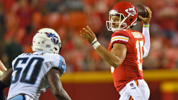 KANSAS CITY, MO - AUGUST 31:  Quarterback Patrick Mahomes #15 of the Kansas City Chiefs throws a pass against the Tennessee Titans during the first half of a preseason game on August 31, 2017 at Arrowhead Stadium in Kansas City, Missouri.  (Photo by Peter G. Aiken/Getty Images)