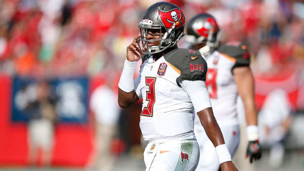 Jameis Winston prepares for another play in a game against the Tennessee Titans.