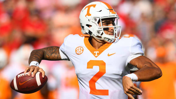 ATHENS, GA - SEPTEMBER 29: Jarrett Guarantano #2 of the Tennessee Volunteers passes against the Georgia Bulldogs on September 29, 2018 at Sanford Stadium in Athens, Georgia. (Photo by Scott Cunningham/Getty Images)