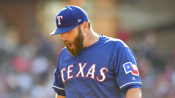 CLEVELAND, OHIO - AUGUST 07: Starting pitcher Lance Lynn #35 of the Texas Rangers reacts as he walks off the field after the third inning of game two of a double header against the Cleveland Indians at Progressive Field on August 07, 2019 in Cleveland, Ohio. (Photo by Jason Miller/Getty Images)