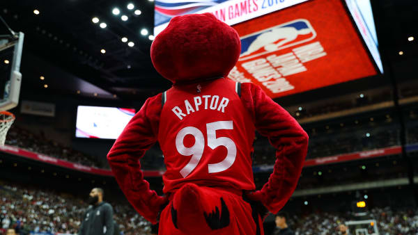 SAITAMA, JAPAN - OCTOBER 10: Toronto Raptors mascot, The Raptor watches the court prior to the preseason game between Toronto Raptors and Houston Rockets at Saitama Super Arena on October 10, 2019 in Saitama, Japan. NOTE TO USER: User expressly acknowledges and agrees that, by downloading and/or using this photograph, user is consenting to the terms and conditions of the Getty Images License Agreement. (Photo by Takashi Aoyama/Getty Images)
