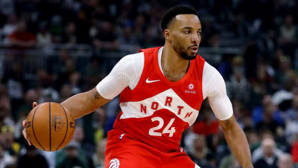 MILWAUKEE, WISCONSIN - MAY 23:  Norman Powell #24 of the Toronto Raptors dribbles the ball in the first quarter against the Milwaukee Bucks during Game Five of the Eastern Conference Finals of the 2019 NBA Playoffs at the Fiserv Forum on May 23, 2019 in Milwaukee, Wisconsin. NOTE TO USER: User expressly acknowledges and agrees that, by downloading and or using this photograph, User is consenting to the terms and conditions of the Getty Images License Agreement. (Photo by Jonathan Daniel/Getty Images)