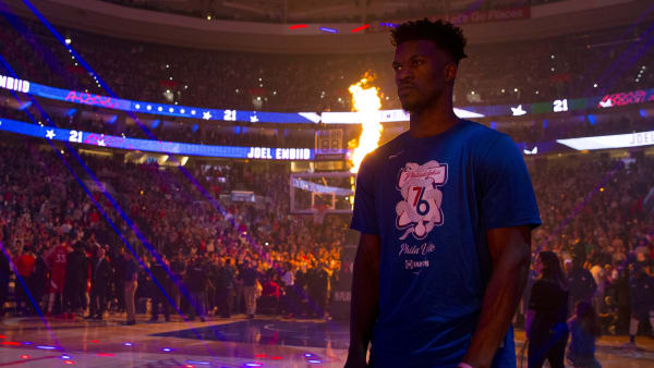 PHILADELPHIA, PA - MAY 09: Jimmy Butler #23 of the Philadelphia 76ers looks on prior to Game Six of the Eastern Conference Semifinals against the Toronto Raptors at the Wells Fargo Center on May 9, 2019 in Philadelphia, Pennsylvania. The 76ers defeated the Raptors 112-101. NOTE TO USER: User expressly acknowledges and agrees that, by downloading and or using this photograph, User is consenting to the terms and conditions of the Getty Images License Agreement. (Photo by Mitchell Leff/Getty Images)